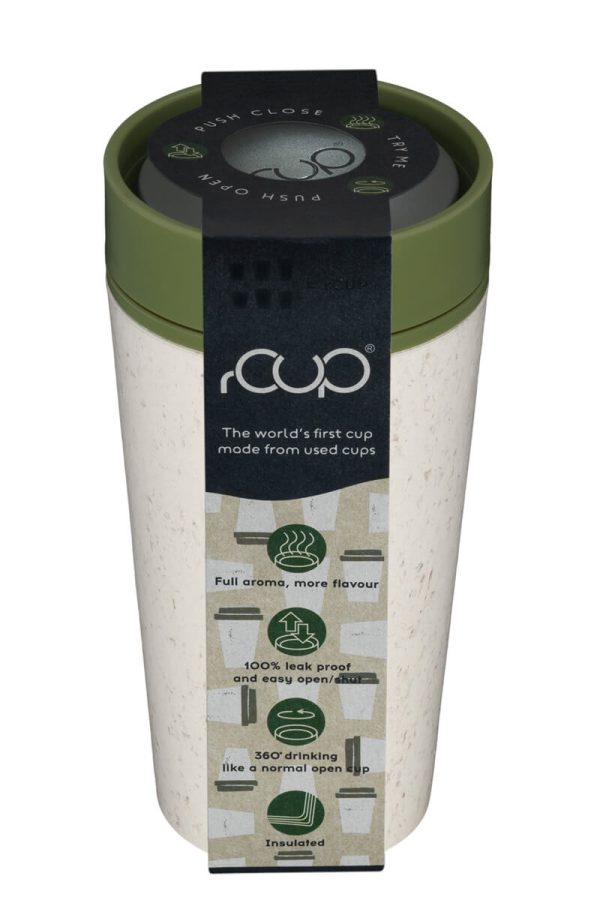 rCup Recycled Coffee Cup Keep Cup 12oz - Cream Green Packaging Lid