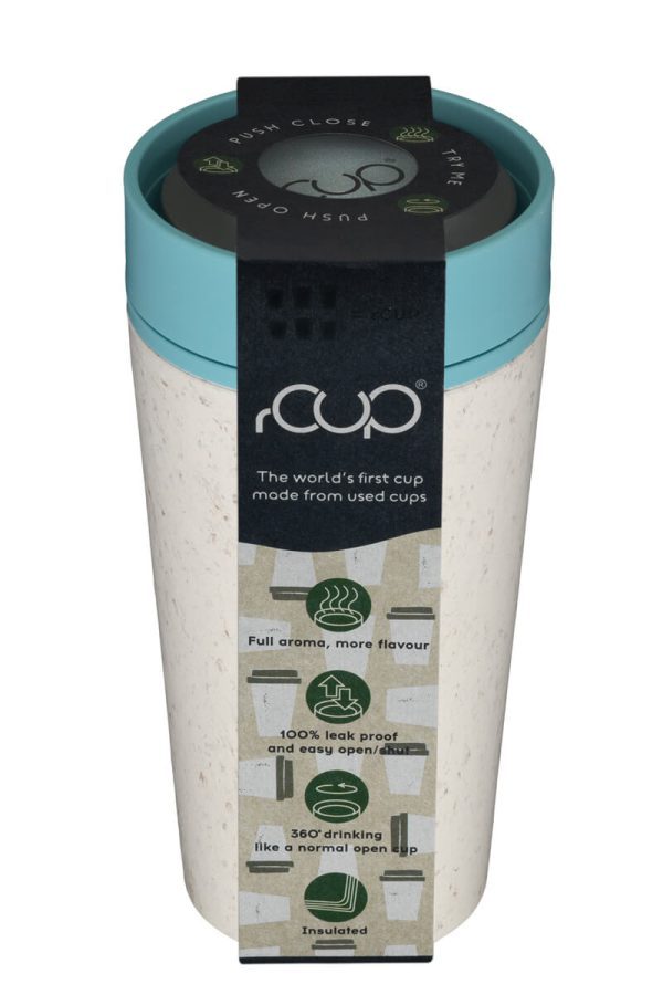 rCup Recycled Coffee Cup Keep Cup 12oz - Cream Teal Packagaing Lid