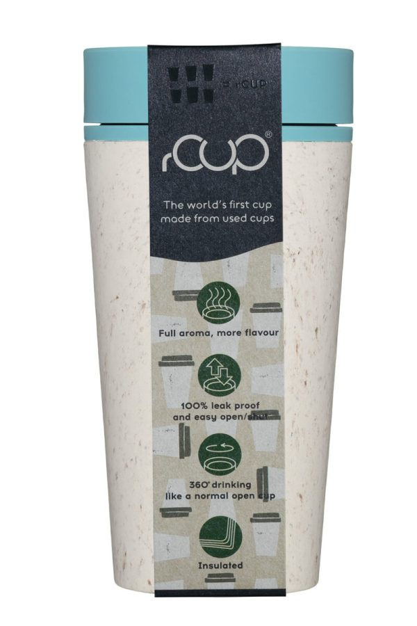 rCup Recycled Coffee Cup Keep Cup 12oz - Cream Teal Packaging