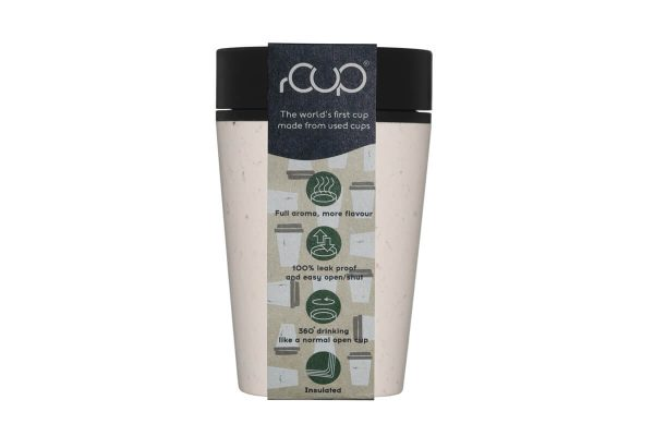 rCup Recycled Coffee Cup Keep Cup 8oz - Black Cream Packaging