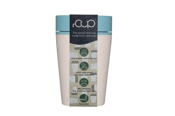 rCup Recycled Coffee Cup Keep Cup 8oz - Cream Teal Packaging