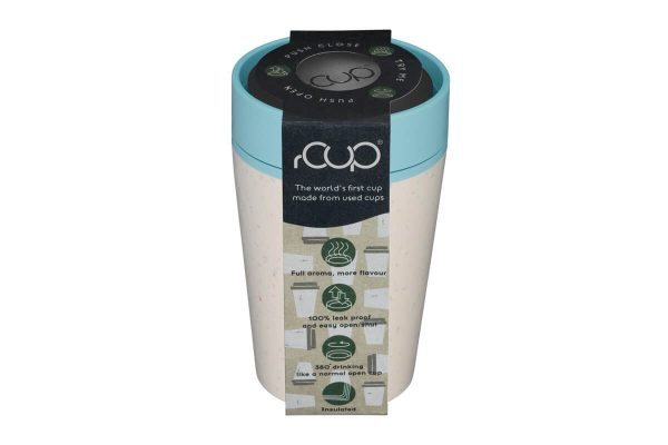 rCup Recycled Coffee Cup Keep Cup 8oz - Cream Teal Packaging Lid