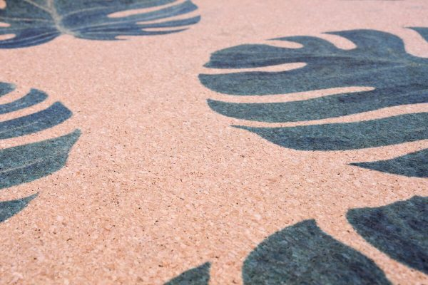 Cork Rubber Supawell Yoga Mat - Monstera Detail
