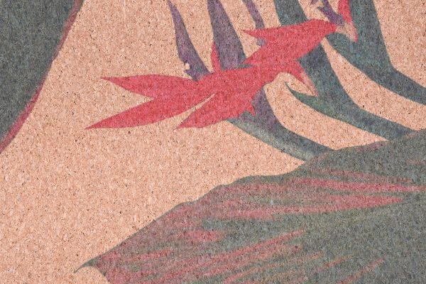 Cork Rubber Supawell Yoga Mat - Red Ti Detail Flower Close